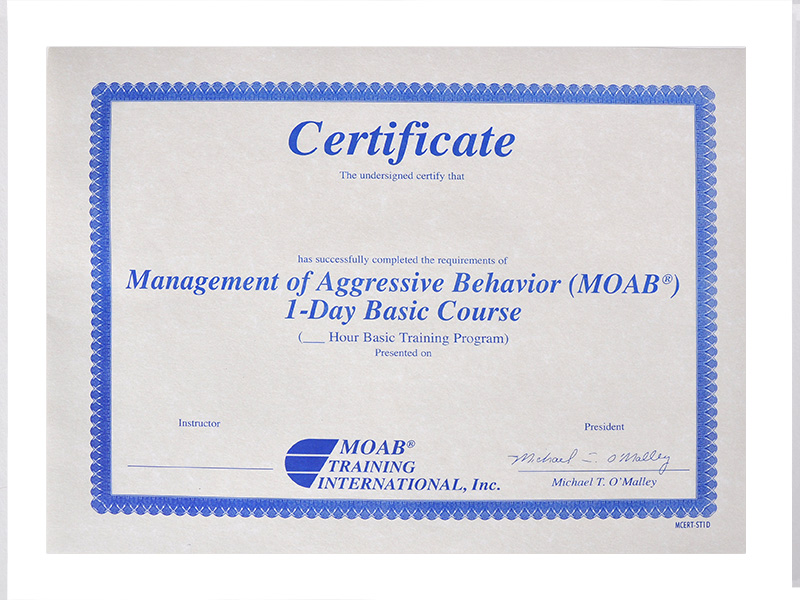 Moab 1 Day Student Certificates Moab Training International Inc