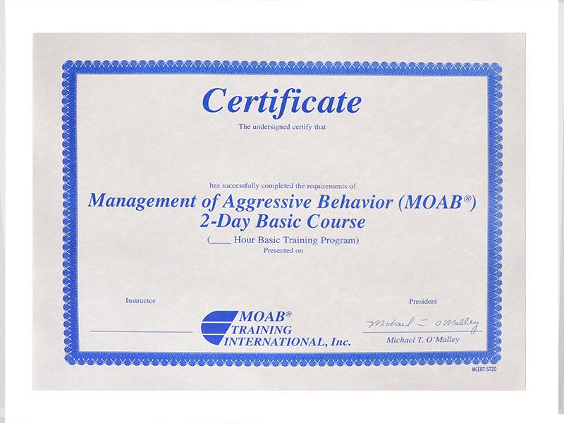 Moab 2 Day Student Certificates Moab Training International Inc